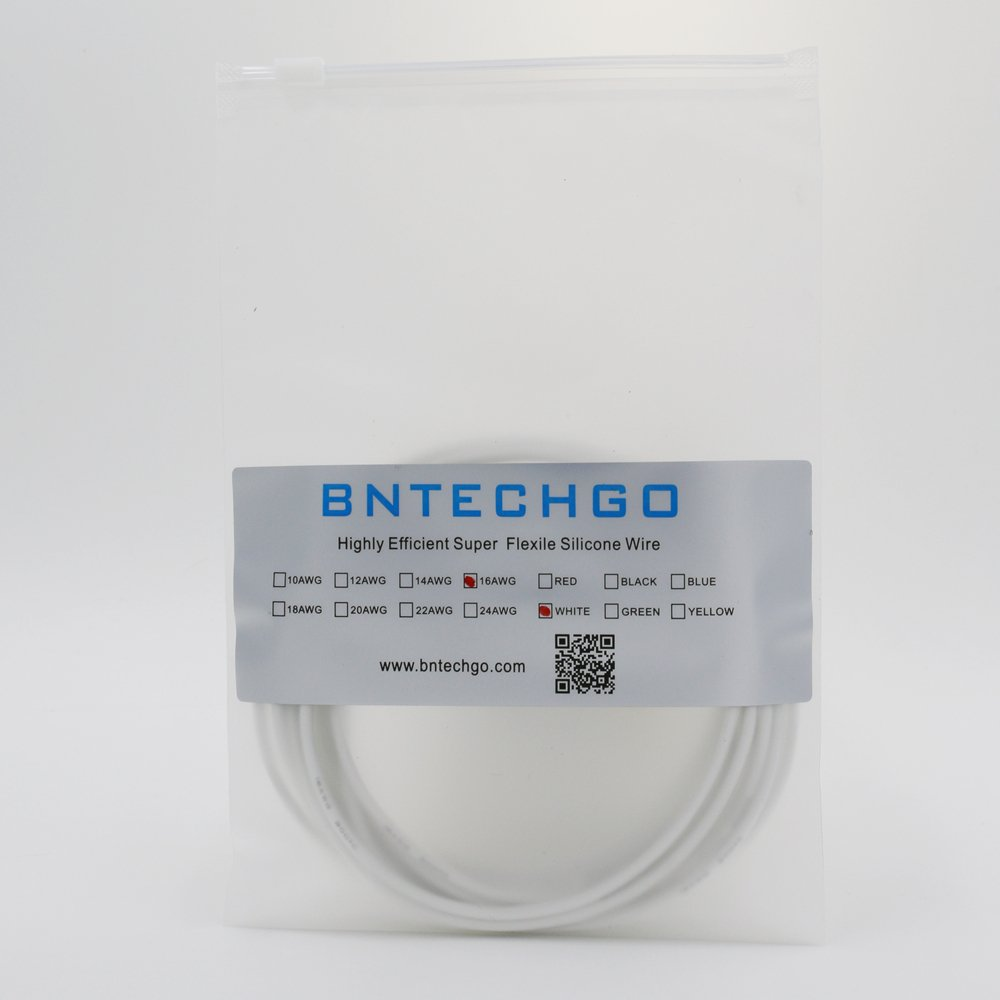 BNTECHGO® 16 Gauge Silicone Wire 50 feet 10 Colors [5ft:Black, Red ...
