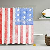 offtggh Flag Eco-Friendly Shower Curtain Water Repellent, Everyday Shower Curtain Liner Mildew-Free 60 x 70 Inch