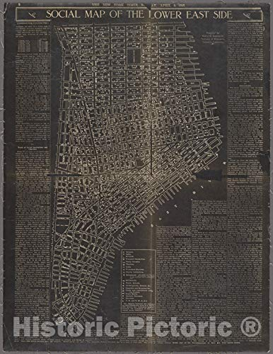 Amazon.com: Historic 1910 Map | Social map of the Lower East ...