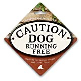 Magnet & Steel Caution Dog Running Free Cast Iron Oval Sign