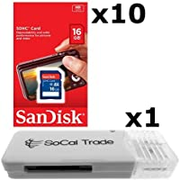 10 PACK - SanDisk 16GB SD HC Class 4 Secure Digital High Speed SDHC Flash Memory Card SDSDB-016G 16G 16 GB GIGS (S.B16.RTx10.562) LOT OF 10 with USB SoCal Trade© SCT SD Memory Card Reader - Retail Packaging