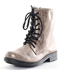 Qupid Women's Missile-04 Military Lace Up Bootie in Taupe / Bronze Size 7.5