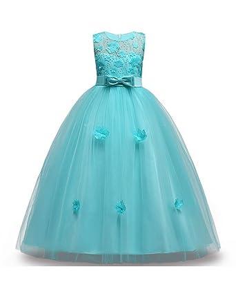 Amazon.com: FKKFYY 2-14 Years Girl Wedding Party Graduation Dresses ...