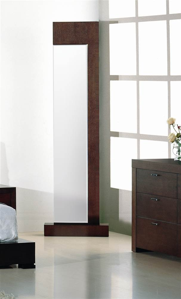 Beverly Hills Furniture Traxler Standing Mirror - Oak veneer in dark walnut finish Unique free standing mirror Adds additional character to already trendy bedroom - mirrors-bedroom-decor, bedroom-decor, bedroom - 51y36AkQ9aL -