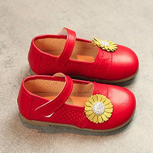 Prevently Babyschuhe der Mädchenblume Einzelne Beschuht Babyart und weisekleinkindkinder Ballerina-Prinzessin Zufällige Ebenen Rot