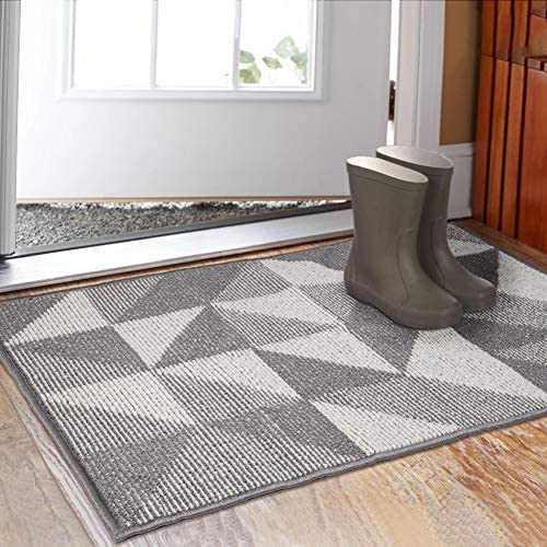 Indoor Doormat 32 x 48 , Absorbent Front Back Door Mat Floor Mats, Rubber Backing Non Slip Door Mats Inside Mud Dirt Trapper Entrance Front Door Rug Carpet, Machine Washable Low Profile-Grey Geome