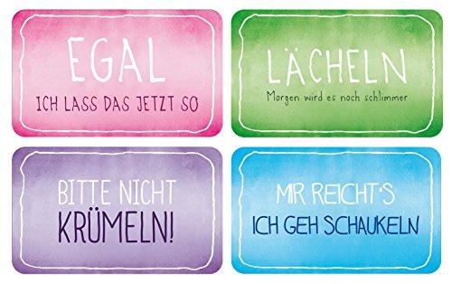 4er Tischsets bunte Funny Serie lustige Sprüche & Taschentücher