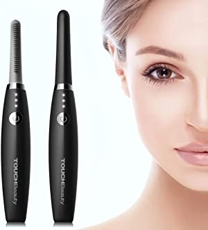 Heated Eyelash Curler, TOUCHBeauty USB Rechargeable Electric Eyelash Curlers with 3 Temperature Settings Silicone Comb Lash Curler for Women Quick Natural Curling Safe Painless Long Lasting