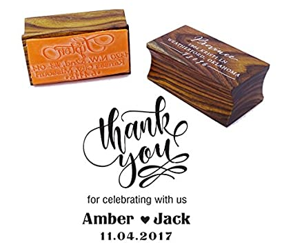 Thank You Save The Date Wedding Invitation Stamp Custom Wood Mounted Rubber