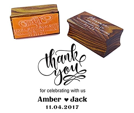 Thank You Save The Date Wedding Invitation Stamp Custom Wood Mounted Rubber Stamp