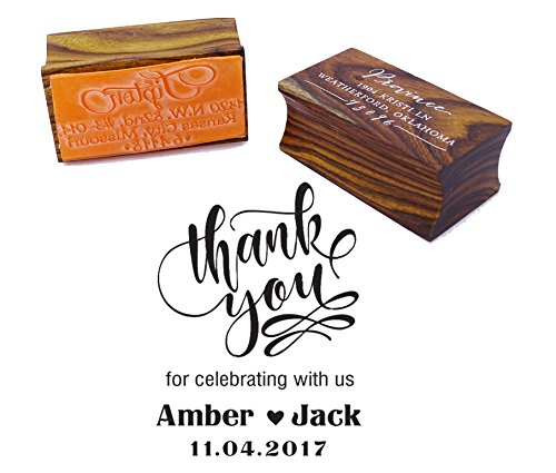 Thank You Save The Date Wedding Invitation Stamp Custom Wood Mounted Rubber Stamp ()