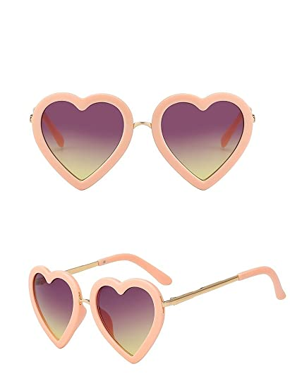da380df7cec3 Amazon.com  Children Kids Sunglasses Fashion Heart Shaped Cute UV400  Designer Frame Eyewear Baby Girls Sunglasses Sun Glasses (Beige)  Clothing