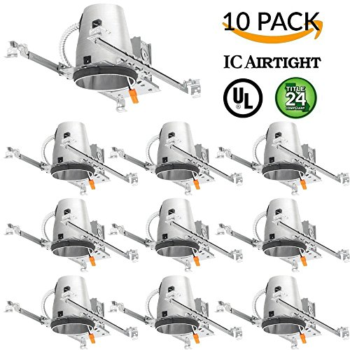 Four Bros Lighting 10 Pack - 4'' inch New Construction LED Can Air Tight IC Housing LED Recessed Lighting - TP24 Connector by Four Bros Lighting