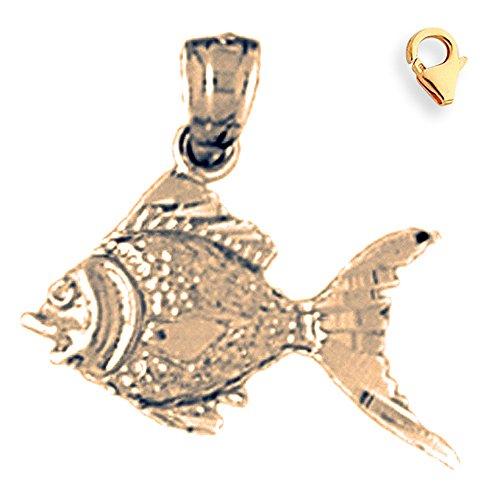 Jewels Obsession Goldfish Pendant | 14K Yellow Gold Goldfish Charm Pendant - 18mm