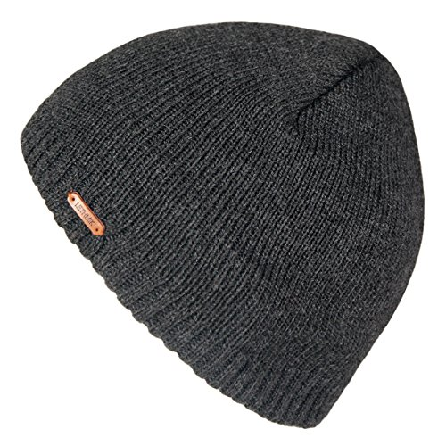 lethmik+Fleece+Lined+Beanie+Hat+Mens+Winter+Solid+Color+Warm+Knit+Ski+Skull+Cap+Dark+Grey