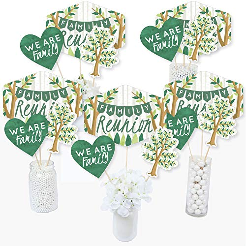 Family Tree Reunion - Family Gathering Party Centerpiece Sticks - Table Toppers - Set of 15 -