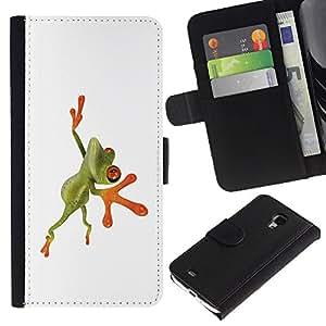 A-type (Naranja Rana de la selva) Colorida Impresión Funda Cuero Monedero Caja Bolsa Cubierta Caja Piel Card Slots Para Samsung Galaxy S4 Mini i9190 (NOT S4)