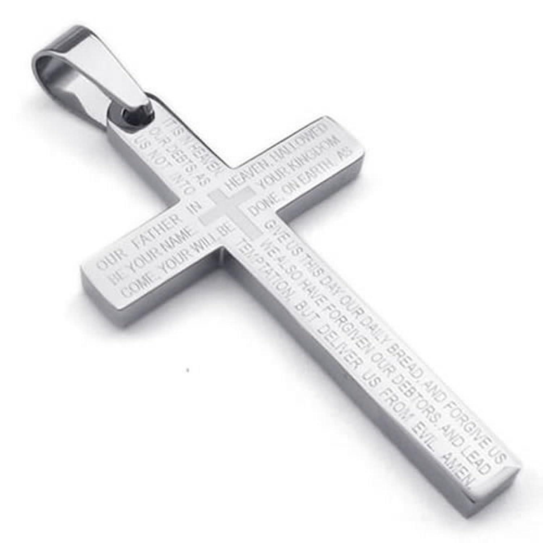 24 konov stainless steel mens lords prayer cross pendant necklace 24 konov stainless steel mens lords prayer cross pendant necklace silver 24 inch chain amazon aloadofball Images