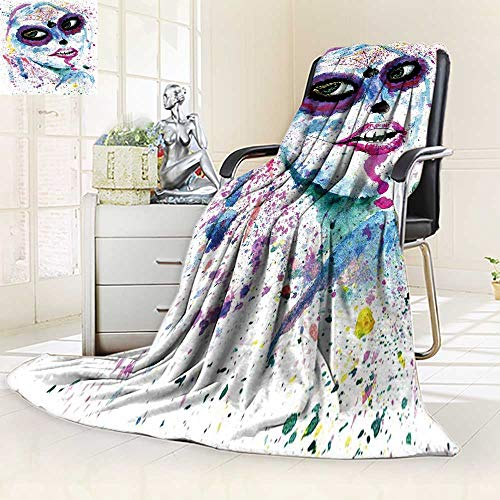 YOYI-HOME Soft Warm Cozy Throw Duplex Printed Blanket Halloween Girl with Sugar Skull Makeup Watercolor Fuzzy Blankets for Bed or Couch/59 W by 79