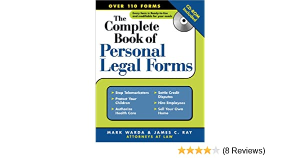 Amazoncom The Complete Book Of Personal Legal Forms - Legal forms software reviews