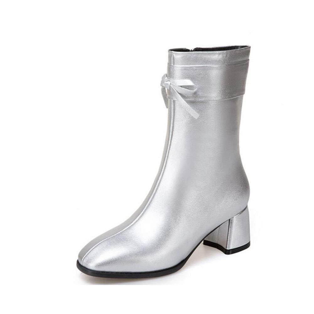 YaXuan Damen Stiefelies, Quadratischer Kopf Retro Bogen Mode Schuhe Weibliche Größe Frauen Stiefel Winter In-Tube Stiefel High Heels Frauen (Farbe : Silber, Größe : 38)