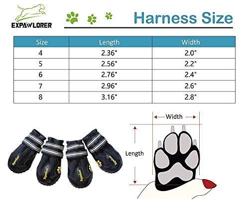 EXPAWLORER Waterproof Dog Boots for Paw Protection - Reflective Non Slip Dog Shoes Size 4 by EXPAWLORER