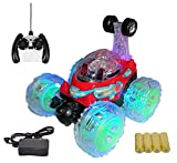 MousePotato Original 360 degrees Front Axle Spinning Big Wheels Stunt Car with Lights & Music (RED)