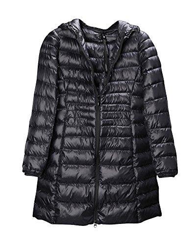 Black Coat ZhuiKun Down Warm Long Hooded Packable Jacket Lightweight Warm Womens Down fPfv1