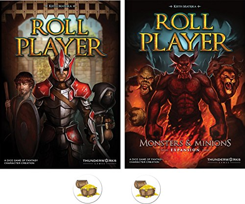 BUNDLE of Roll Player Base Game and Monsters & Minions Expansion plus 2 Treasure Chest Buttons