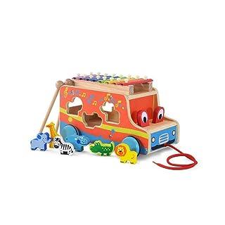 QARYYQ Bambini in Legno Trascinando Camminatore 0-3 Anni Mezzo Bambino Neonato Bambino Bambini Puzzle Giocattolo Educazione Precoce in Legno Giocattolo