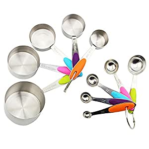 CoZroom Stainless Steel Measuring Cups and Spoons Set with Heat Insulating Handle,10 pcs Stackable Cups and Coffee Scoop Tablespoon