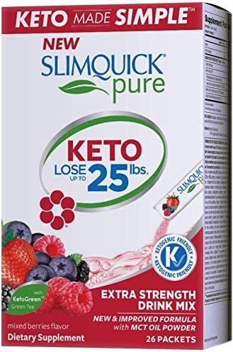 SlimQuick Pure Drink Mix – Mixed Berries – Powerful Weight Loss – for Women – 26 Packets