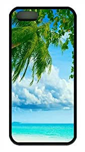 iPhone 5S Case, Tropical Beach Coconut Tree TPU Black Bumpers Case Cover for iPhone 5s and iPhone 5