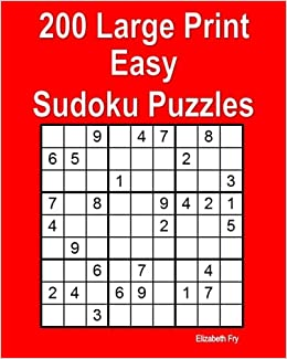image about Beginner Sudoku Printable identified as 200 Huge Print Straightforward Sudoku Puzzles: Elizabeth Fry