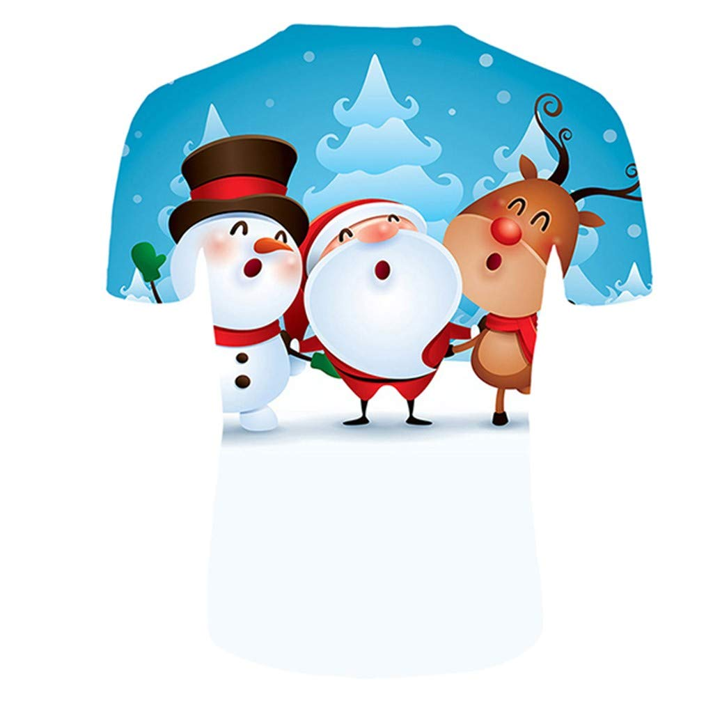 LUNULE Camiseta Unisex Navidad Hombre Y Mujer Christmas Elk Impresi/óN 3D Manga Corta Tops Grandes Y C/ómodos Jersey Blusas Tops M-6XL