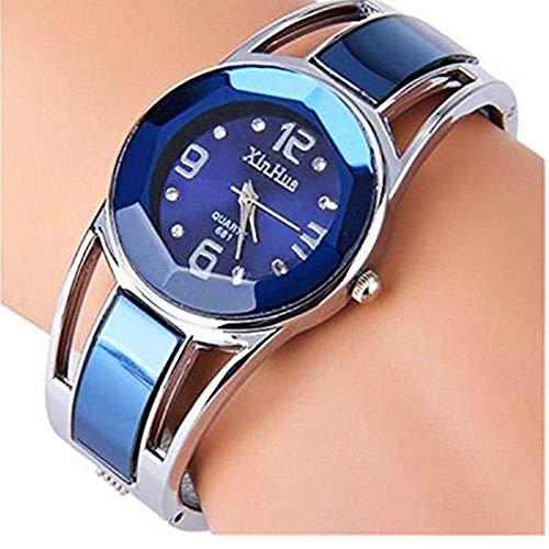 Bracelet Dial Round Watch Black - ELEOPTION Women's Bangle Watch Bracelet Design Quartz Watch with Rhinestone Round Dial Stainless Steel Band Wrist Watches Free Women's Watch Box (XINHUA-Jewelry Blue)
