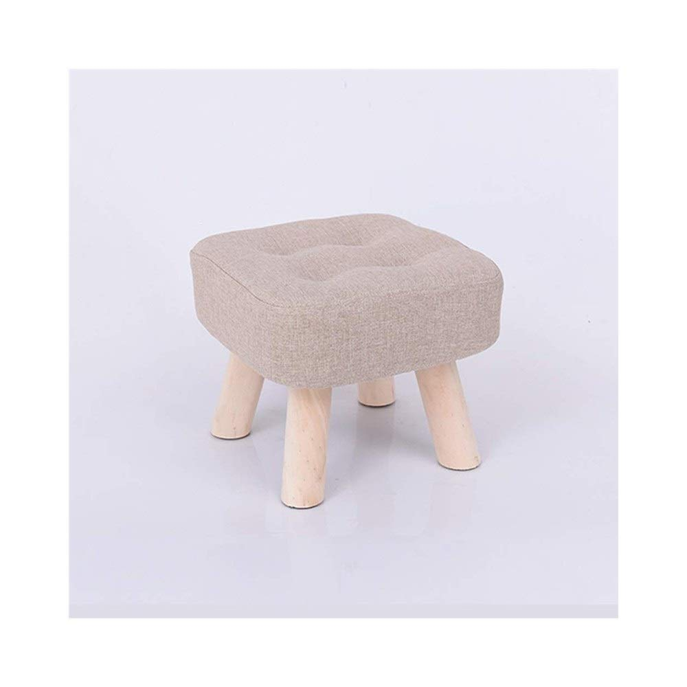 Beige Small Solid Wood Footstool Low Stool Fabric Small Bench Washable Small Chair Stool Home Adult Living Room Sofa Stool Multi-Function LEBAO (color   bluee, Size   Small)