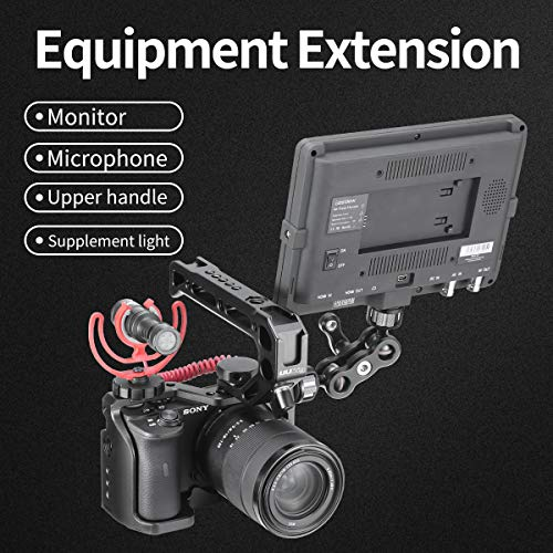 UURig C-A6600 Vlog Camera Cage for Sony A6600, Cold Shoe Microphone/Fill Light Extension Video Vlog, Vertical Shooting Camera Cage