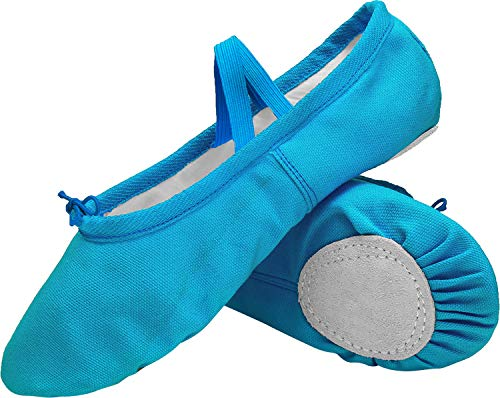 L-RUN Kids Girls Classic Canvas Practise Ballet Dancing Yoga Shoes Blue]()