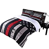 Rhap Quilts Cover Queen Size, American Flag Duvet Cover Set, 3pcs Bedspreads Queen Size Set, Red Black Valor Patriot Theme Digital Printed Quilt Cover Matching 2 Pillowcases