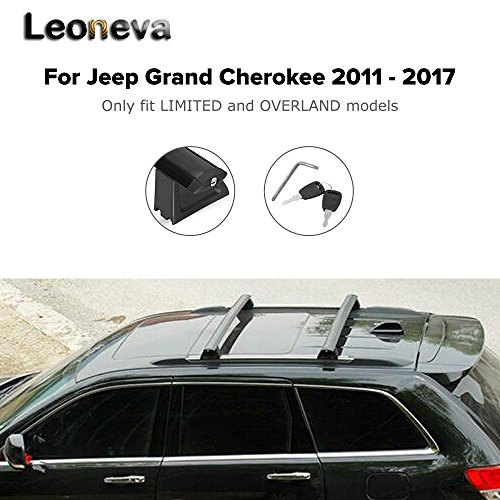 Leoneva Black Front and Roof Rack Cross Bars for Jeep Grand Cherokee 2011-2017, Pack of 2 (US Stock)