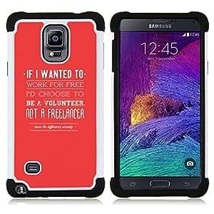 """Pulsar ( Freelancer Voluntariado Jobe Cita Roja"""" ) Samsung Galaxy Note 4 IV / SM-N910 SM-N910 híbrida Heavy Duty Impact pesado deber de protección a los choques caso Carcasa de parachoques"""
