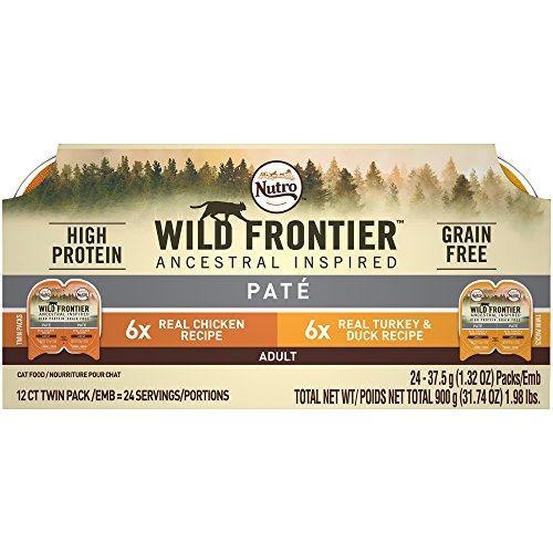 (Nutro WILD FRONTIER High Protein Grain Free Pate Wet Cat Food, Chicken and Turkey & Duck, 2.65 oz. (24 Twin Packs))