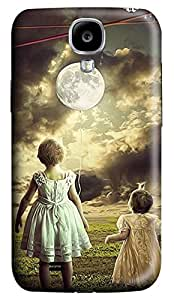 Brian114 Samsung Galaxy S4 Case, S4 Case - 3D Print Pattern Hard Cover for Samsung Galaxy S4 I9500 Girls In Front Of Moon Extremely Protective Case for Samsung Galaxy S4 I9500