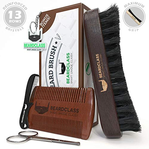 BEARDCLASS – Beard Brush and Comb – 100% Wooden Boar Bristle Beard Brush Kit Set with Curve Contour for Maximum Grip – Bonus Items: Beard Comb, Mustache Comb and Scissors Set- Beard Care Grooming Kit