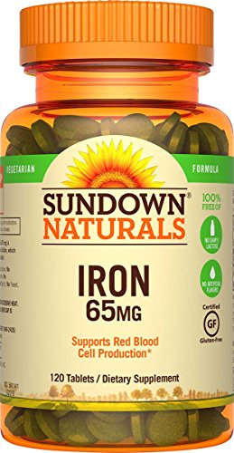65mg Tabs - Sundown Naturals Iron Ferrous Sulfate 65 mg, 120 Tablets