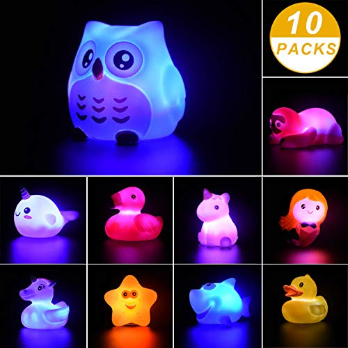 undise 10 Pieces Bath Toys Light Up Floating Rubber Animal Toys Set for Baby Infants Kids Toddler Child Bathtub Bathroom Shower Games Swimming Pool Party (Baby Tub Owl)