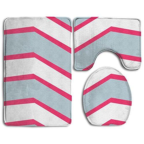 (Bath Mat,3 Piece Bathroom Rug Set,Colorful Stripes Flannel Non Slip Toilet Seat Cover Set,Large Contour Mat,Lid Cover For Men/Women)