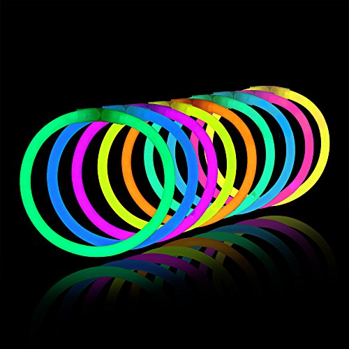 100 Count Bulk Assorted Glow Sticks in 5 Vibrant Shades (Pink, Green, Blue, Yellow, Orange), 8 Inches | Last 8 - 10 Hours | Safe, Non Toxic, Waterproof   Bracelets Party Pack by PartySticks
