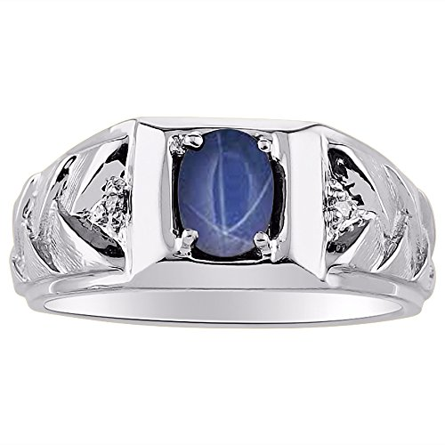Yellow Sapphire Star (Blue Star Sapphire & Diamond Ring set in 14K Yellow or 14K White Gold)